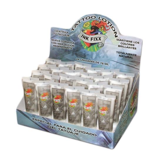 Expositor con 24 tubos crema regeneradora ink fixx lotion
